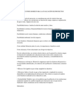 Criterios e Indicadores Para La Evaluación de Proyectos