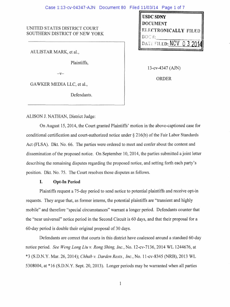 Gawker Social Media Ruling Equitable Tolling Class Action
