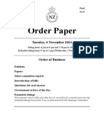Order Paper for New Zealand Parliament sitting Tuesday 4 November 2014