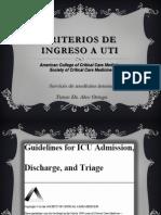 Criterios de Ingreso a Uti