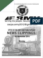 03 Nov 14 Newsclippings