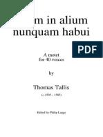 Tallis Spem in Alium Full Score PML