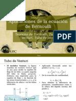 Aplicaciones de La Ecuación de Bernoulli