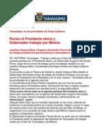 com0966 181106 Pactan el Presidente electo y Gobernador Eugenio Hernándeztrabajar por México