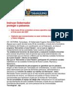 com0967 191106 Instruye Gobernador Eugenio Hernández proteger a paisanos