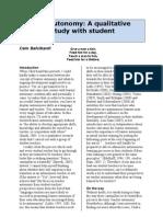 Teacher Autonomy a Qualitative Research Study With Student Teachers