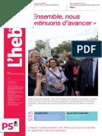 L'Hebdo des socialistes n°741 «Ensemble, nous continuons d'avancer»