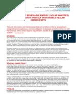 Self Sustainable Net Zero Energy Progessive Health Posts_Centers_Clinics