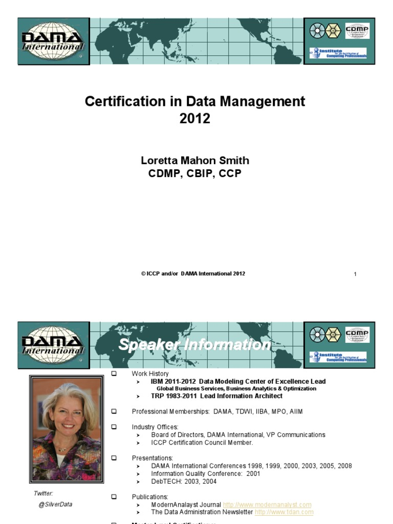 Dama Certification In Datamanagement Professional Certification
