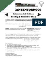 Recreantentornooi Badmintonclub DE HAAN - 7 december 2014