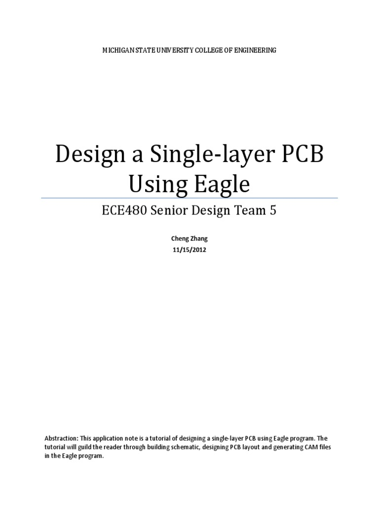 Application Note Chen Zhang Eagle Tutorial Printed Circuit Board Cadsoft Is An App For Designing Boards It Has Electronic Circuits
