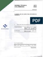 Ntc 4002 Alambre Liso de Acero Para Refuerzo de Concreto