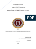 Universidad Fermin Toro Rol Protagonico de La Universidad en El Desarrollo Del Pais Luis Dulcey Ci 24090430