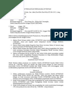 Contoh Surat Perjanjian Kerjasama Usaha Cafe - Berbagi ...