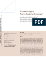 Phenomenological Approaches in Anthropology