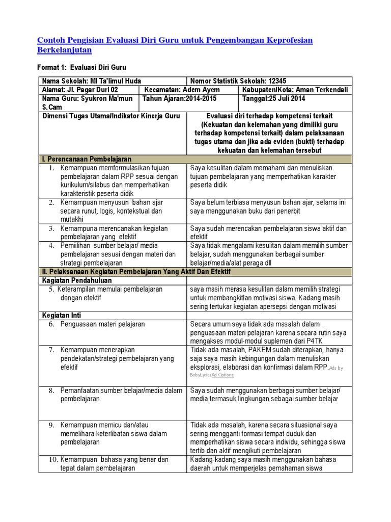 Contoh Format Daftar Evaluasi Diri Kerja Guru Seputaran Guru