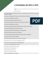 Calendario de Actividades Del 2014 y 2015
