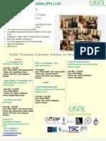 OISOL Pvt LTD Public Training Calendar