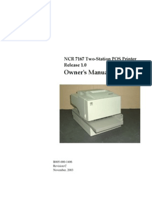 Ownerʹs Manual: NCR 7167 Two‐Station POS Printer Release 1 0