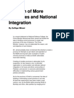 Creation of More Provinces and National Integration