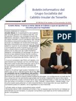 Boletín del Grupo Socialista del Cabildo de Tenerife 099. 27 de Octubre - 2 de Noviembre 2014
