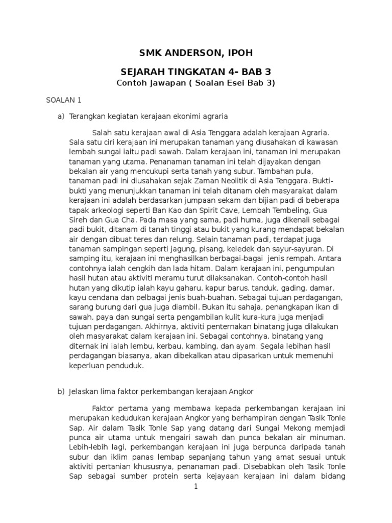 Contoh Jawapan Esei Sej T4