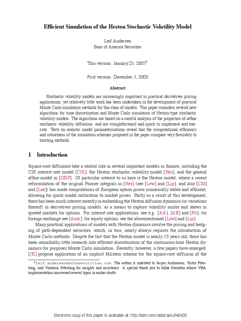 Andersen efficient simulation of the heston stochastic volatility model normal distribution chi squared distribution