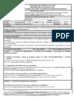 PLANO de CURSO. História Econômia Geral - Economia - 2014