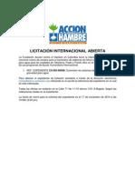 ACF-COLOMBIA (LICITACIÓN INTERNACIONAL ABIERTA 2014).EXP CO-BO-00698.Suministro de Sistemas de Filtros Caseros Por Gravedad Para Agua.Fecha cierre 17 NOV 14 15h (3:00 pm hora de Colombia)