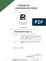 Certificado sistema gestión de calidad - AENOR - ISO 9001 2008 - Prejea