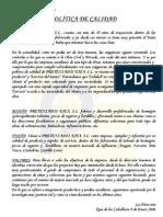 Politica de Calidad - Prejea - [ed 2]