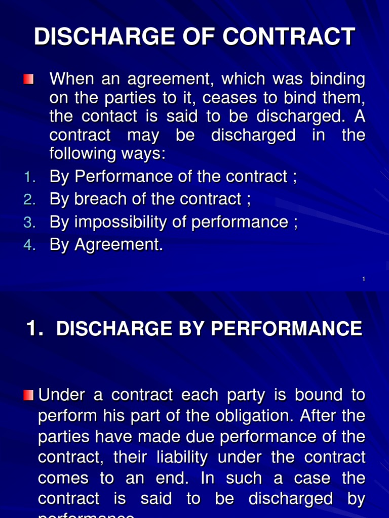 Discharge Of Contract Damages Breach Of Contract
