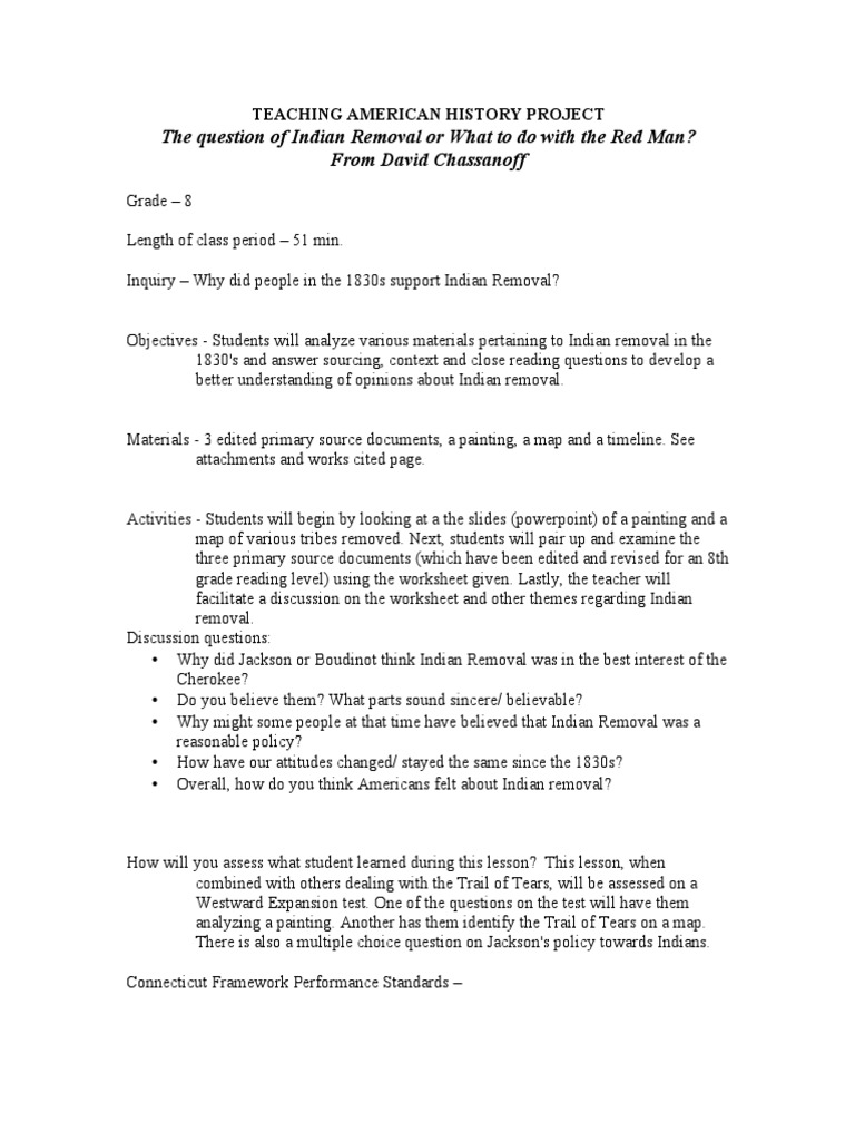 Worksheets Trail Of Tears Worksheet indian removal act dbq activity cherokee violence