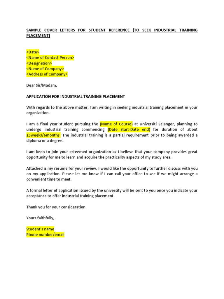 Example of application for industrial training placement for Industrial placement cover letter