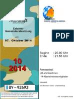 Eslarner Gemeinderatssitzungen - Mitschrift vom 07.10.2014