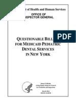 New York Questionable Pediatric Dental Mediciad Billing Report - March 2014