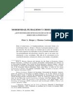 Modernidad Prulalismo y Crisis de Sentido (Berger y Luckmann)