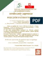 Zaproszenie Wieczór Patriotyczny 2014c