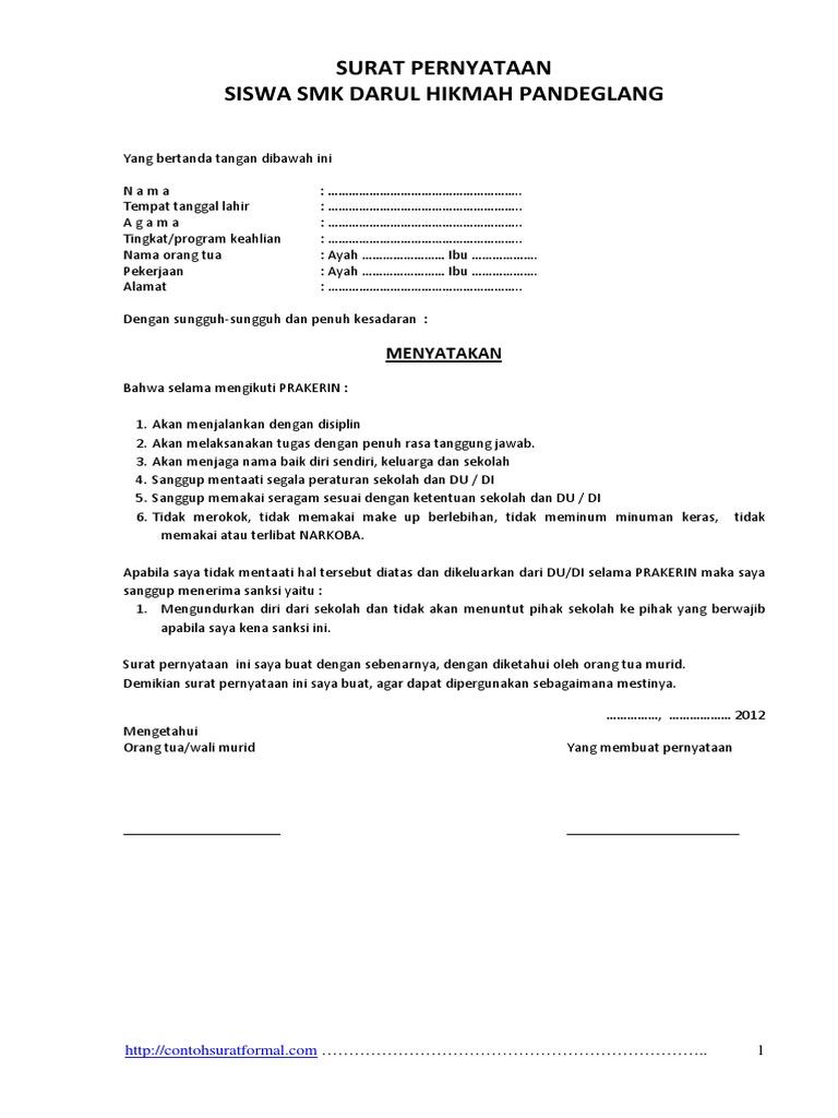 Contoh Surat Pernyataan Prakerin Atau Pkl Siswa Pdf