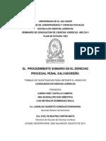 El Procedimiento Sumario en el Derecho Procesal Penal Salvadoreño