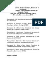 Palabras de Gustavo Montalvo, ministro de la Presidencia. Apertura del Diálogo Tripartito para la Reforma del Código de Trabajo.