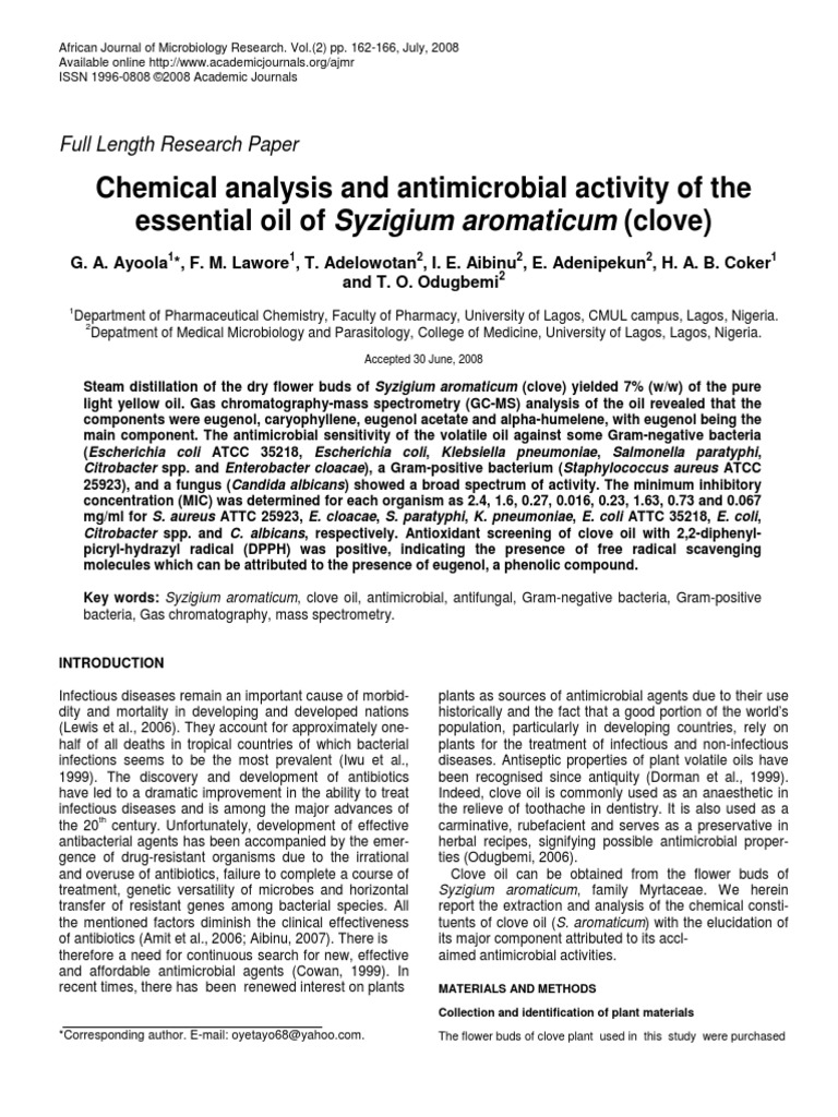 Chemical Analysis and Antimicrobial Activity of the