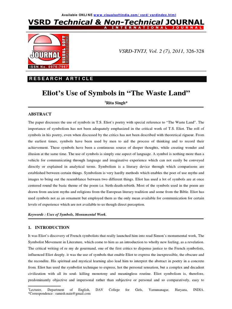The wasteland 5pdf t s eliot symbolism arts biocorpaavc