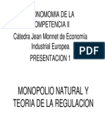 Monopolio Natural y Teoria de La Regulacion