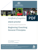 certificate of completetion- beginning coaches course