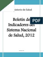 Boletin de Indicadores Del Sistema Nacional de Salud 2012