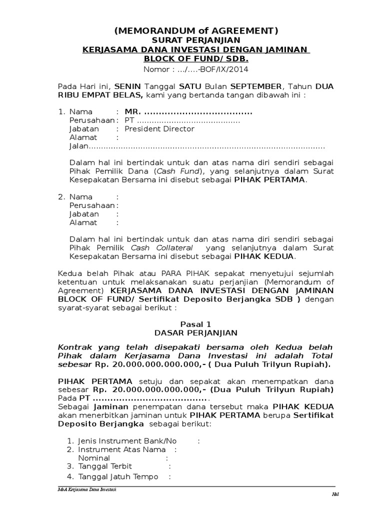 Moa Kerjasama Block Fund Sdb