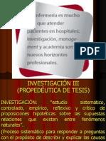 Investigación III (Propedéutica de Tesis.1)
