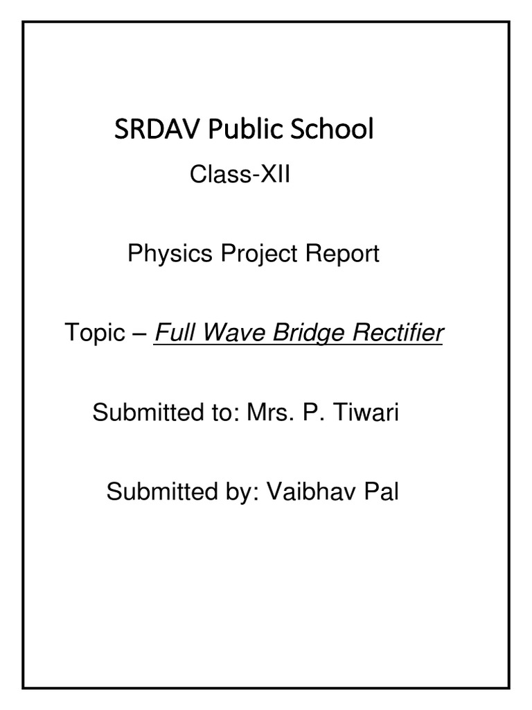 project report on full wave rectifier