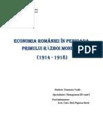 Economia României În Perioada Primului Răz Boi Mondial